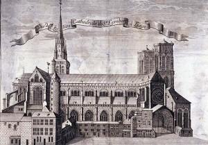 Gravure cathédrale depuis palais
